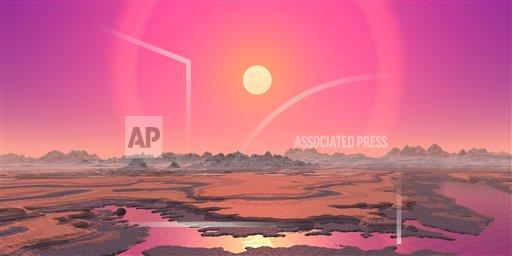 Creative AP T    horizontal Artist's concept of a red giant over a hypothetical planet.