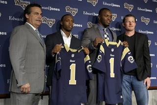 Jeff Fisher, Les Snead, Tavon Austin, Alec Ogletree