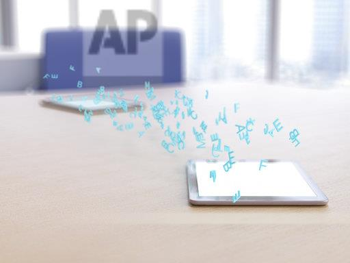 3D rendering, Letters hovering over digital tablet, transferring data