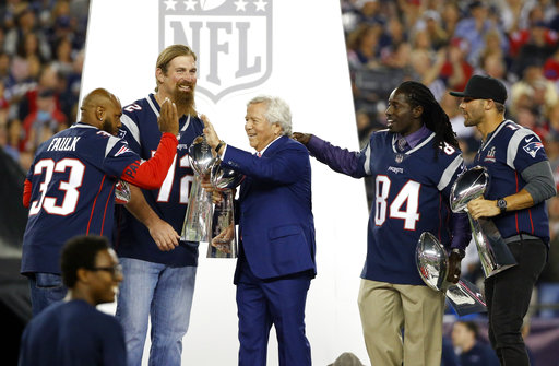 Kevin Faulk, Matt Light, Deion Branch, Julian Edelman, Robert Kraft