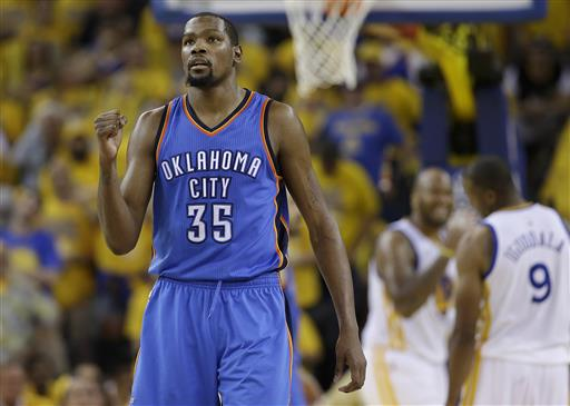 buy online a6c3f 393ca FILE - In a Monday, May 30, 2016 file photo, Oklahoma City Thunder forward Kevin  Durant (35) reacts during the second half of Game 7 of the NBA basketball  ...