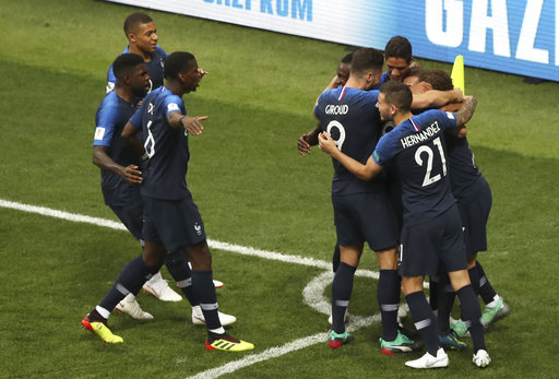 c202d26c2 France players celebrate their first goal during the final match between  France and Croatia at the 2018 soccer World Cup in the Luzhniki Stadium in  Moscow