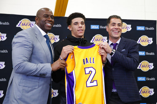 def2491d7bd Magic sees Lonzo as 1 piece in Lakers' grand rebuilding plan. Magic Johnson  welcomed Lonzo Ball back home to Los Angeles by calling him the new face ...