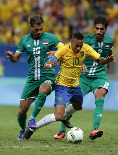 The Latest: Brazil ties Iraq 0-0 in men's soccer in Oly