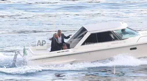 Former US President Barack Obama on vacation with George Clooney on Como Lake | Buy Photos | AP Images | DetailView