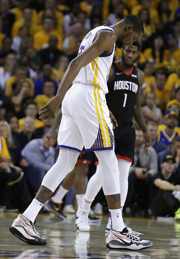 65ef327df Warriors star Kevin Durant injures right calf in Game 5 ...