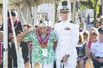 Pearl Harbor survivor, Al Rodrigues salutes for the audience during  a ceremony at the Arizona Memorial in Honolulu, Hawaii., Thursday, Dec. 7, 2017.  Survivors gathered Thursday at the site of the Japanese attack on Pearl Harbor to remember fellow servicemen killed in the early morning raid 76 years ago, paying homage to the thousands who died with a solemn ceremony marking the surprise bombing raid that plunged the U.S. into World War II. (Craig T. Kojima  /The Star-Advertiser via AP)