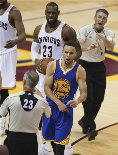 febbdef14fd4 Golden State Warriors guard Stephen Curry reacts to being called for his  sixth foul on Cleveland Cavaliers forward LeBron James (23) during the  second half ...