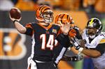 In this Monday, Dec. 4, 2017 file photo, Cincinnati Bengals quarterback Andy Dalton passes in the second half of an NFL football game against the Pittsburgh Steelers in Cincinnati. Three cornerbacks hurt, a linebacker and a running back in concussion protocol. The Bengals are paying the price for their acerbic, season-dooming loss to the Steelers on Monday night at Paul Brown Stadium. The Bengals play the Chicago Bears on Sunday, Dec. 10, 2017. (AP Photo/Gary Landers, File)