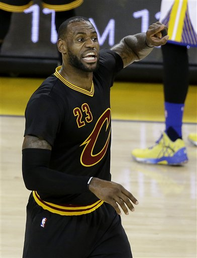 dcb05da1c10 Cleveland Cavaliers forward LeBron James (23) gestures during the first half  of Game 5 of basketball s NBA Finals against the Golden State Warriors in  ...
