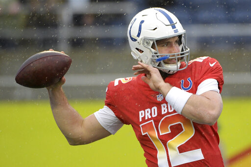 d4c6af186 27, 2019, file photo, AFC quarterback Andrew Luck (12), of the Indianapolis  Colts, warms up before the NFL Pro Bowl football game against the NFC, ...