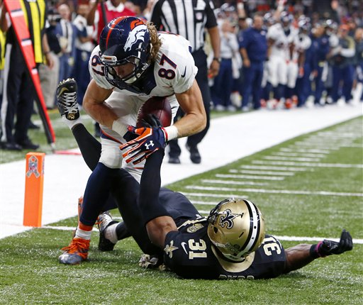 46bd9b7af5f The Latest: With replay help, Denver's Taylor has TD ca ...