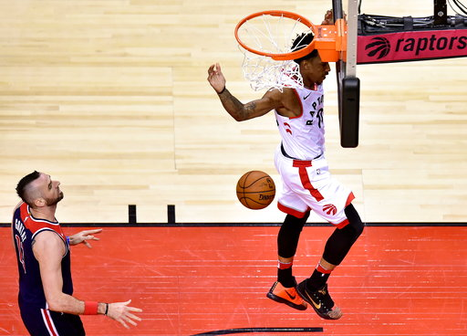 dec136cbcc1 DeRozan scores 37, Raptors win Game 2, beat Wizards 130-111