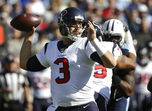 Houston Texans quarterback Tom Savage (3) passes against the Tennessee Titans in the first half of an NFL football game Sunday, Dec. 3, 2017, in Nashville, Tenn. (AP Photo/James Kenney)