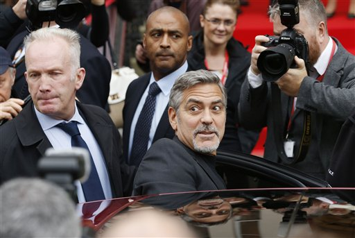Media scrum as George Clooney visits sandwich shop for
