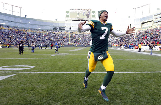 FILE- In this Sunday, Dec. 3, 2017, file photo, Green Bay Packers' Brett Hundley celebrates after  their 26-20 win in overtime against the Tampa Bay Buccaneers in an NFL football game in Green Bay, Wis. As star quarterback Aaron Rodgers recovers from a broken collarbone, Hunley will lead the Packers against the winless Cleveland Browns. (AP Photo/Mike Roemer, File)