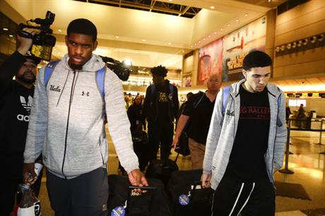 Cody Riley, LiAngelo Ball, right, Jalen Hill