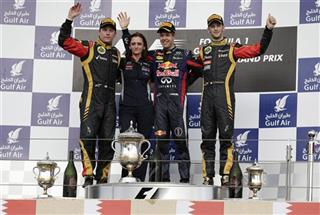 Sebastian Vettel, Kimi Raikkonen, Romain Grosjean of France,