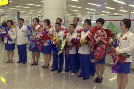 North Korea Olympians Return