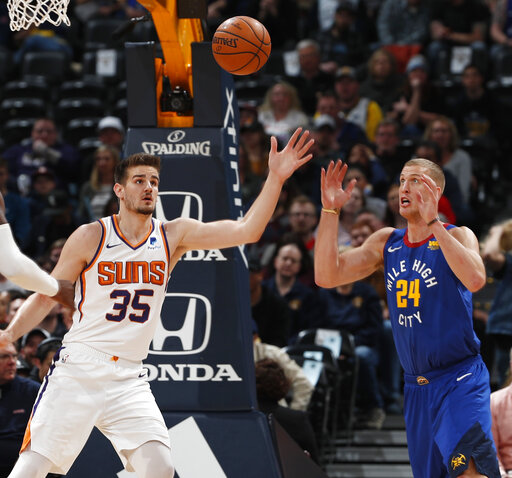 25ef6c8f7d3 Nuggets overcome Jokic suspension to beat Suns 132-95