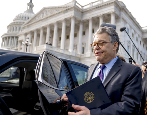 Sen. Al Franken, D-Minn., leaves the Capitol after speaking on the Senate floor, Thursday, Dec. 7, 2017, on Capitol Hill in Washington. Franken said he will resign from the Senate in coming weeks following a wave of sexual misconduct allegations and a collapse of support from his Democratic colleagues, a swift political fall for a once-rising Democratic star. (AP Photo/Andrew Harnik)