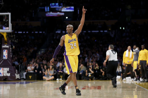 faa8b56a3fe Los Angeles Lakers forward Kobe Bryant gestures during the first half of  Bryant s last NBA basketball game