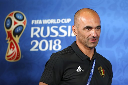 0cbf9e82563 Belgium coach Roberto Martinez arrives for the official press conference at  the eve of their quarterfinal match against Brazil at the 2018 soccer World  Cup ...