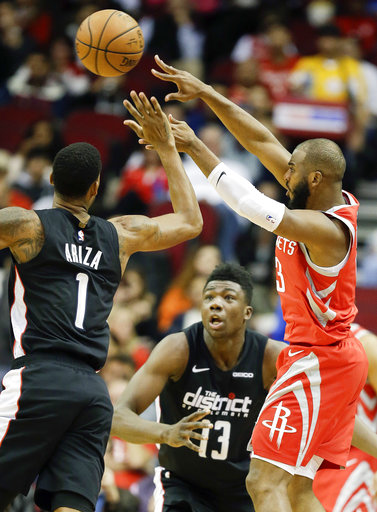 3d67ccdaf25 Rockets set NBA record with 26 3s in 136-118 win