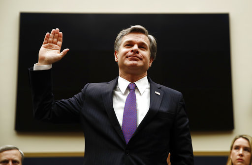 FBI Director Christopher Wray is sworn in during a House Judiciary hearing on Capitol Hill in Washington, Thursday, Dec. 7, 2017.  (AP Photo/Carolyn Kaster)