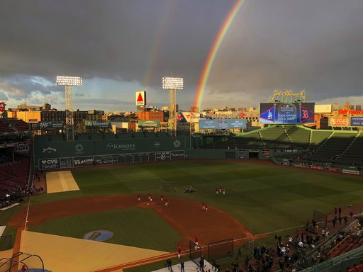 ea5095550f5 A rainbow is seen over Fenway Park before Game 2 of the World Series  baseball game between the Boston Red Sox and the Los Angeles Dodgers  Wednesday