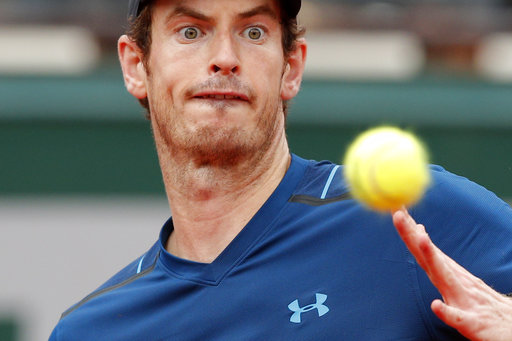 478ef0bdc6c Britain s Andy Murray eyes the ball as he plays Russia s Andrey Kuznetsov  during their first round match the French Open tennis tournament at the  Roland ...