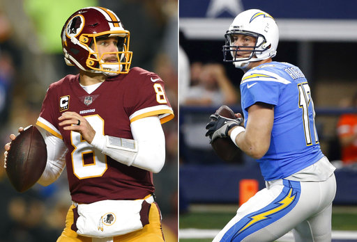 FILE - At left, in a Nov. 23, 2017, file photo, Washington Redskins quarterback Kirk Cousins (8) passes the ball during the first half of an NFL football game against the New York Giants in Landover, Md. At right, also in a Nov. 23, 2017, file photo, Los Angeles Chargers' Philip Rivers prepares to throws a pass during an NFL football game against the Dallas Cowboys, in Arlington, Texas. After winning three straight and six of eight overall, the first-place Chargers (6-6) host the Washington Redskins (5-7) on Sunday with a chance to solidify their postseason intentions. (AP Photo/File)
