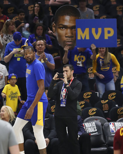 3c855430a7d The Latest: Warriors-Cavaliers tip-off Game 4 of NBA Finals