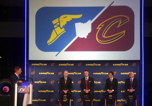 33714fb7df5c3 A press conference takes place with a logo overhead announcing a new  partnership with Goodyear Tires and the Cleveland Cavaliers in Cleveland