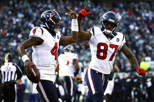 Houston Texans  Deshaun Watson (4) and Demaryius Thomas (87) celebrate  after Watson s touchdown during the first half of an NFL football game  against the ... 12a66e3ac