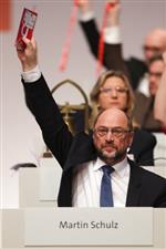 Social Democratic Party chairman Martin Schulz attends a voting during a party's convention in Berlin, Thursday, Dec. 7, 2017. (AP Photo/Markus Schreiber)
