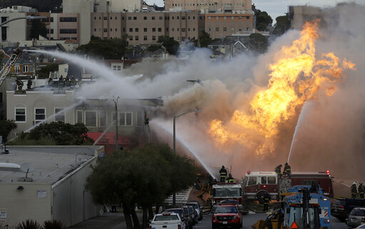 San Francisco gas explosion shoots fire that burns buil