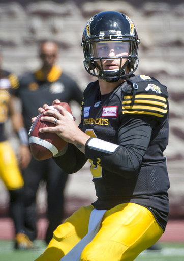 425dd88c32b Hamilton Tiger-Cats quarterback Johnny Manziel looks for an open receiver  during the second half of a preseason CFL football game against the Montreal  ...