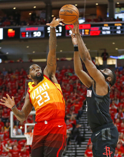 2bc4efb32d7 Utah Jazz forward Royce O'Neale (23) blocks the shot of Houston Rockets  guard James Harden, right, in the first half during an NBA basketball game  Saturday, ...
